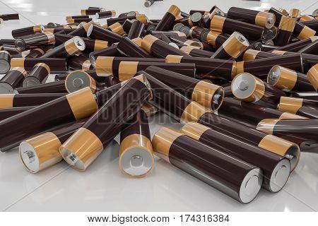 3D rendered illustration of pile of alkaline batteries.