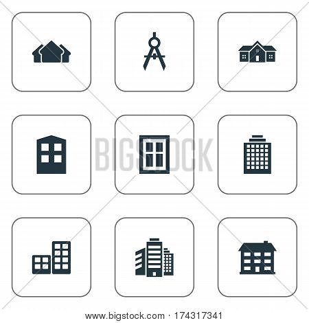 Set Of 9 Simple Structure Icons. Can Be Found Such Elements As Flat, Residence, Construction And Other.