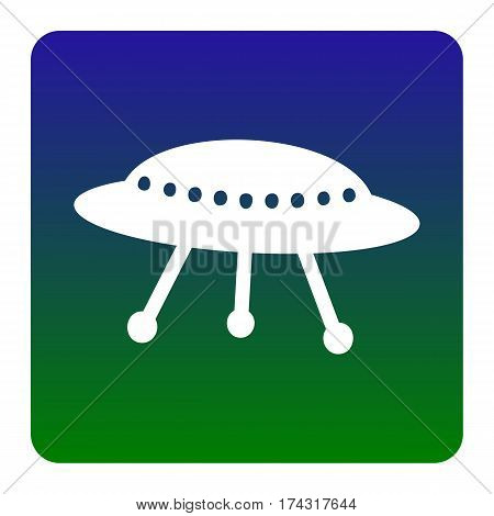 UFO simple sign. Vector. White icon at green-blue gradient square with rounded corners on white background. Isolated.