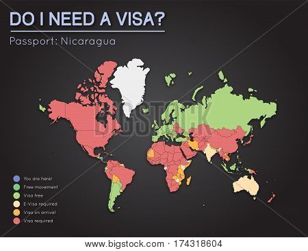 Visas Information For Republic Of Nicaragua Passport Holders. Year 2017. World Map Infographics Show