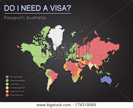 Visas Information For Commonwealth Of Australia Passport Holders. Year 2017. World Map Infographics