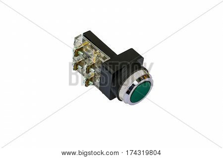 Green electrical button switch isolated on the white