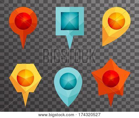 Landmark Showplace Symbol Map Pointer Mark Polygon Icons Vector Template Illustration