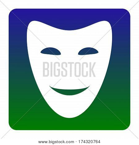 Comedy theatrical masks. Vector. White icon at green-blue gradient square with rounded corners on white background. Isolated.