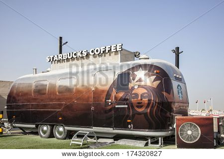 DUBAI UAE - NOV 27 2016: Airstream caravan converted to the Starbucks Coffee shop at the Last Exit food trucks park on the E11 highway in United Arab Emirates