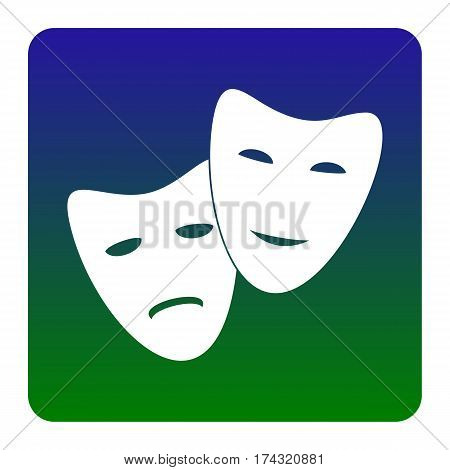 Theater icon with happy and sad masks. Vector. White icon at green-blue gradient square with rounded corners on white background. Isolated.