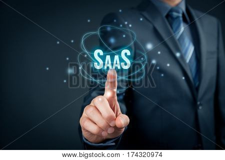 Software as a Service (SaaS on-demand software) concept. Modern business model where software is licensed on a subscription basis.