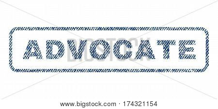 Advocate text textile seal stamp watermark. Blue jeans fabric vectorized texture. Vector caption inside rounded rectangular shape. Rubber sign with fiber textile structure.