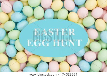 Invitation to an Easter Egg Hunt Retro Easter eggs candy with text Easter Egg Hunt