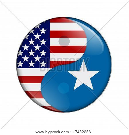 USA and Somalia working together The US flag and Somalian flag on a yin yang symbol isolated over white 3D Illustration