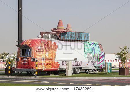 DUBAI UAE - NOV 27 2016: Airstream caravan converted to a food truck at the Last Exit food trucks park on the E11 highway between Abu Dhabi and Dubai