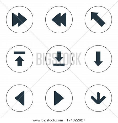 Set Of 9 Simple Pointer Icons. Can Be Found Such Elements As Left Landmark , Pointer , Advanced.