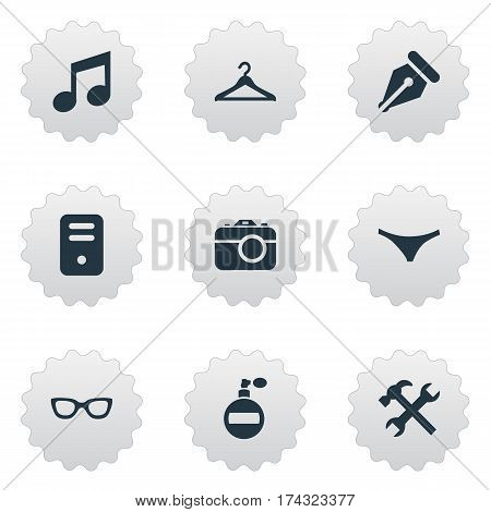 Set Of 9 Simple Instrument Icons. Can Be Found Such Elements As Fragrance, System Unit, Hanger And Other.