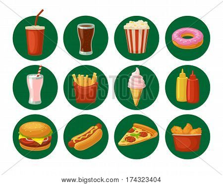 Set fast food icon. Cup cola, donut, ice cream, milkshake, hamburger, pizza, chicken legs, hotdog, fry potato, popcorn, ketchup. Isolated on green circle. Vector flat color illustration. For takeaway