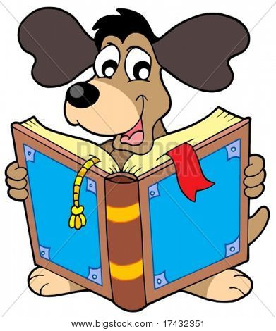 Dog reading book - vector illustration.