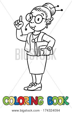 Coloring picture of funny interpreter or translator. A woman in round glasses and a suit with books under his arm and headset, raised index finger. Profession series. Children vector illustration.