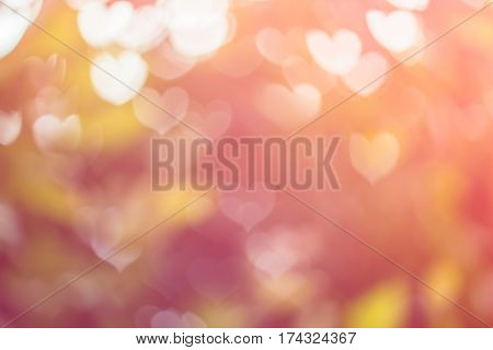 Blurred background of Valentine's day concept. Valentines Day Card. Pastel color tones.multicolored white hearts wall-paper.