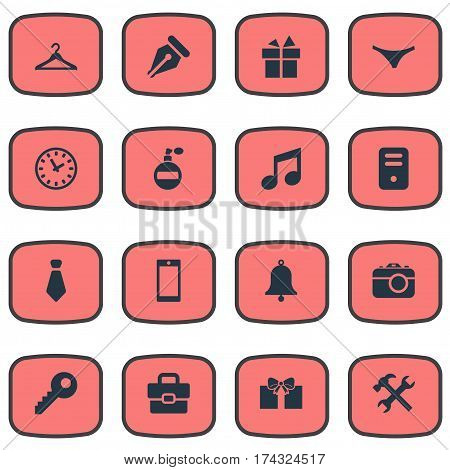 Set Of 16 Simple Instrument Icons. Can Be Found Such Elements As System Unit, Mobile Phone, Password And Other.
