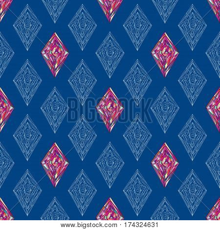 Ornament tracery pattern. Geometric seamless background. Abstract colorful rhombus texture for wallpaper, wrapping, textile design, fabric