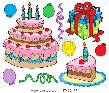 Birthday party collection - vector illustration.
