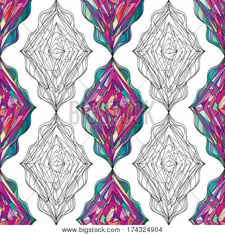 Ornament tracery geometric seamless pattern. Abstract colorful rhombus texture for wallpaper, wrapping, textile design, fabric