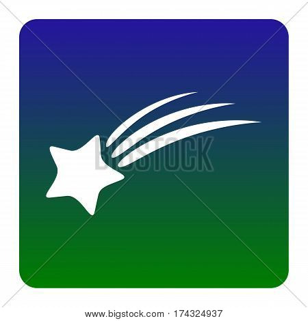 Shooting star sign. Vector. White icon at green-blue gradient square with rounded corners on white background. Isolated.