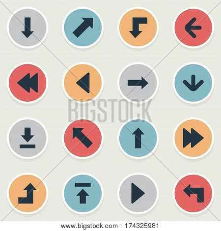 Set Of 16 Simple Cursor Icons. Can Be Found Such Elements As Right Direction, Downwards Pointing, Reduction And Other.