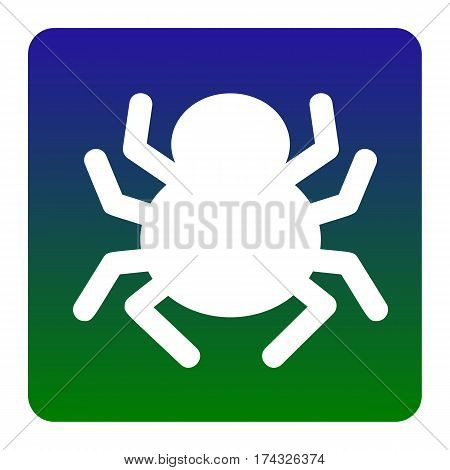 Spider sign illustration. Vector. White icon at green-blue gradient square with rounded corners on white background. Isolated.