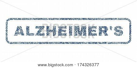 Alzheimer'S text textile seal stamp watermark. Blue jeans fabric vectorized texture. Vector tag inside rounded rectangular shape. Rubber emblem with fiber textile structure.