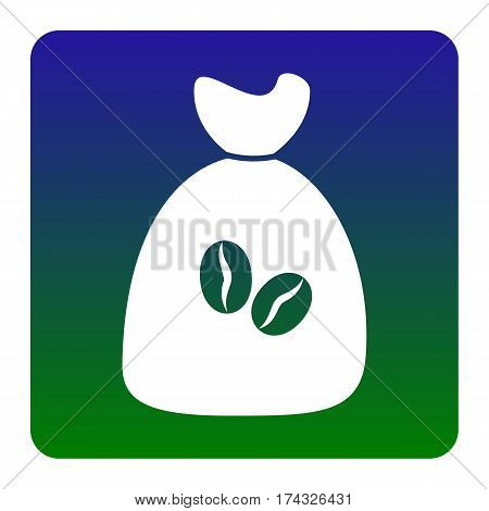 Coffee bag Icon. Coffee bag Vector. Coffee bag Icon Button. Vector. White icon at green-blue gradient square with rounded corners on white background. Isolated.