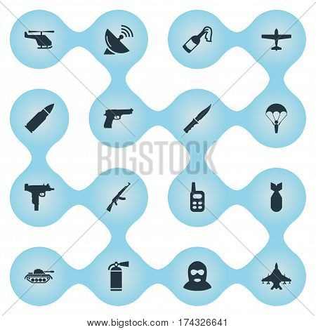 Set Of 16 Simple Terror Icons. Can Be Found Such Elements As Walkies, Terrorist, Ammunition And Other.