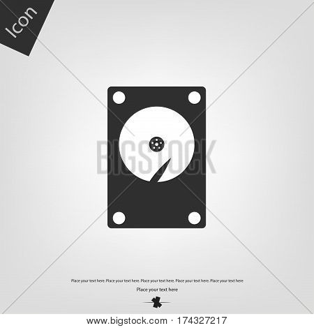 Hard drive HDD vector icon, gray background. Vector illustration.