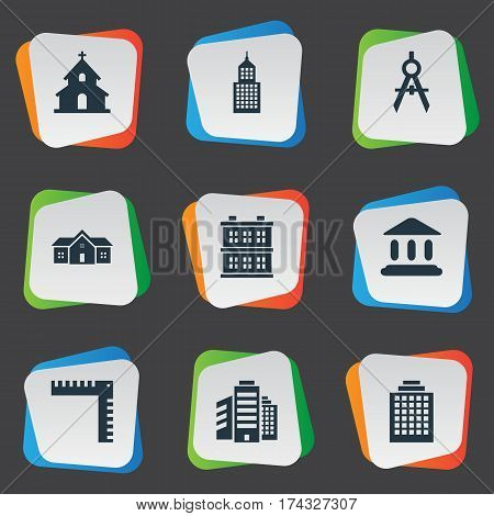 Set Of 9 Simple Architecture Icons. Can Be Found Such Elements As Popish, Engineer Tool, Offices And Other.