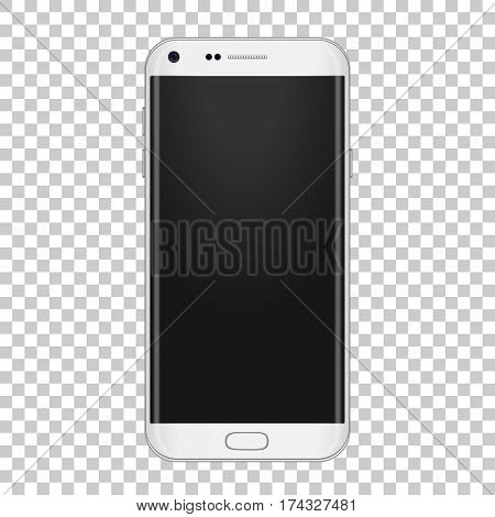 White realistic moder phone with camera, volume buttons and with empty screen. For show your app, design, mobile stuff.