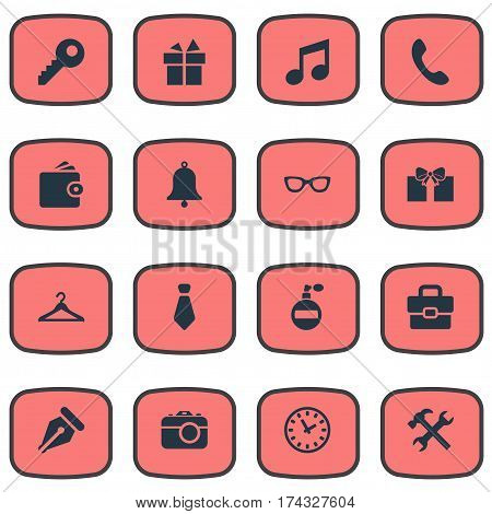 Set Of 16 Simple  Icons. Can Be Found Such Elements As Time, Billfold, Gift And Other.