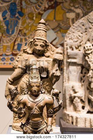 Two Statues of Vishnu in Bhuddist Temple
