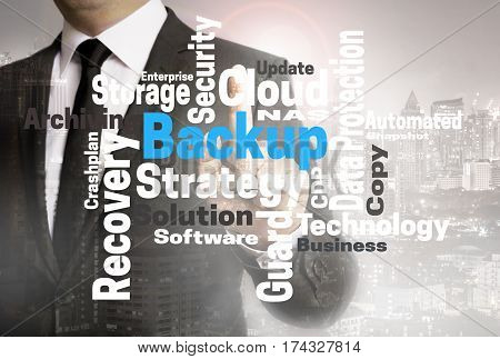Backup Wordcloud Touchscreen Is Shown By Businessman