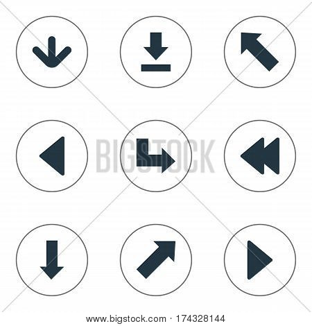 Set Of 9 Simple Pointer Icons. Can Be Found Such Elements As Indicator , Downwards Pointing, Right Landmark.