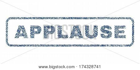Applause text textile seal stamp watermark. Blue jeans fabric vectorized texture. Vector tag inside rounded rectangular shape. Rubber sign with fiber textile structure.