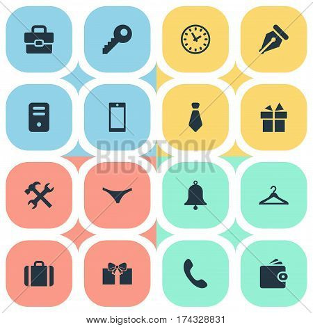 Set Of 16 Simple Accessories Icons. Can Be Found Such Elements As Password, Repair, Cravat And Other.