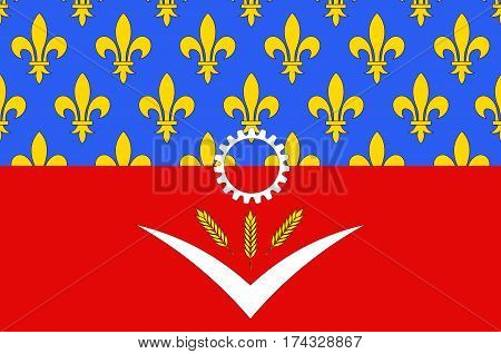 Flag of Seine-Saint-Denis is a French department named after the Seine and Marne rivers and located in the Ile-de-France region. Vector illustration