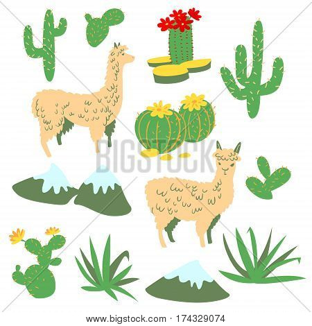 Set with alpaca - south america's lama. Collection with lama and cactus in cartoon style. Vector floral illustration