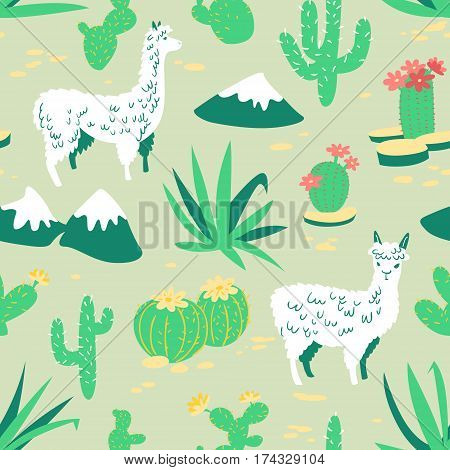 Seamless pattern with alpaca - south america's lama. Background with lama and cactus in cartoon style. Vector floral illustration