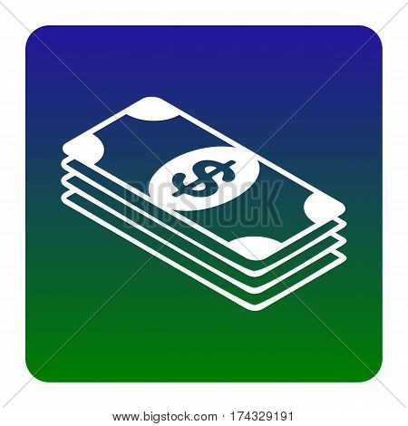 Bank Note dollar sign. Vector. White icon at green-blue gradient square with rounded corners on white background. Isolated.