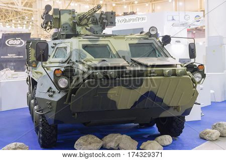 Kiev Ukraine - October 14 2016: Ukrainian armored personnel carrier production at the exhibition