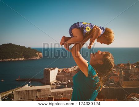 happy mother and little daughter enjoy vacation in Europe, Croatia