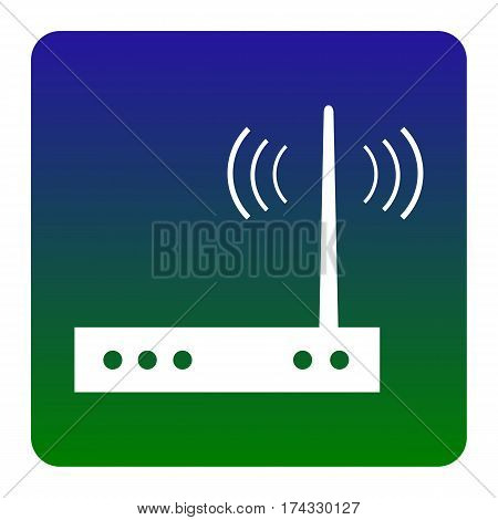Wifi modem sign. Vector. White icon at green-blue gradient square with rounded corners on white background. Isolated.