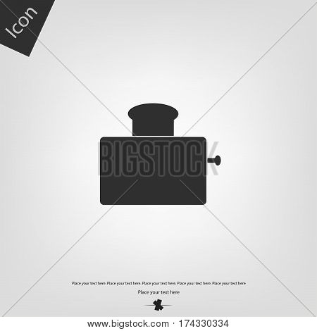 Toaster vector icon, gray background. Vector illustration.