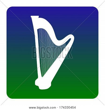 Musical instrument harp sign. Vector. White icon at green-blue gradient square with rounded corners on white background. Isolated.