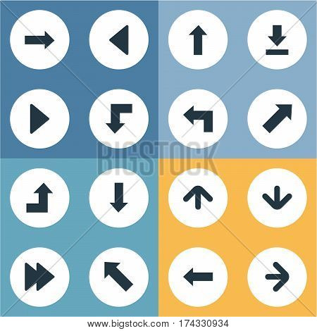 Set Of 16 Simple Cursor Icons. Can Be Found Such Elements As Right Direction , Advanced, Right Landmark.